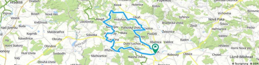Jičín-Ostružno-Samšina-Mladějov-Libunec-Jičín