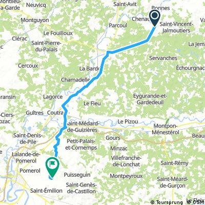Lange Radrunde von Saint-Aulaye nach サン=テミリオン