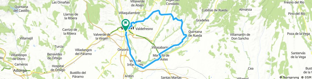 LEON-VILLAOBISPO-VILLAVENTE-VILLAMAYOR-S.CIPRIANO-CAÑIZAL-VALDUVIECO-MELLANZOS-S.MIGUEL-MANSILLA-PALANQUINOS-VEGA INFANZONES-LEON