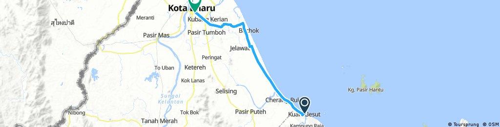 Lengthy ride from Kuala Besut to Kota Bharu