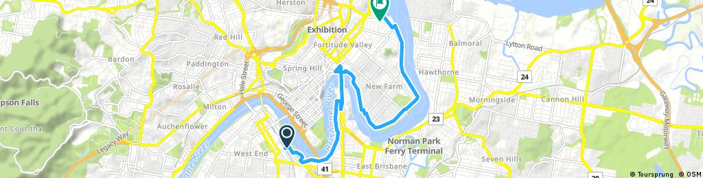 ride from South Brisbane to Newstead