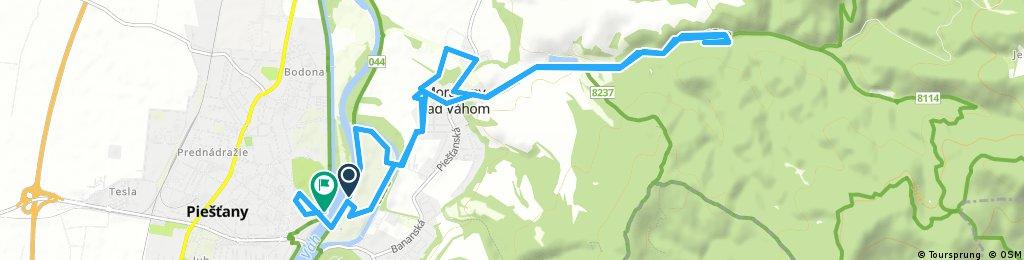 bike tour from Kúpeľný ostrov to Piestany