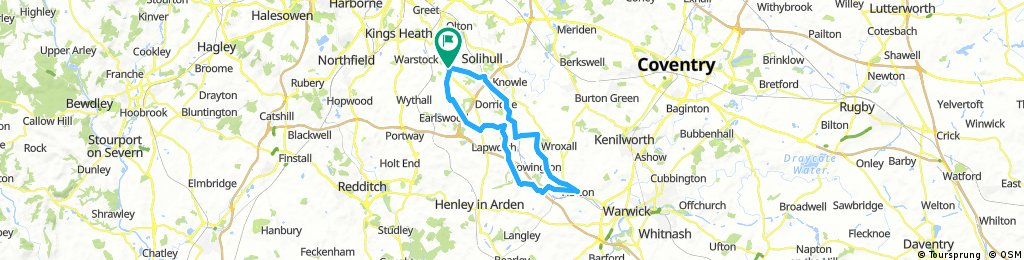 Shirley to Hatton Locks Cafe and back via Packwood