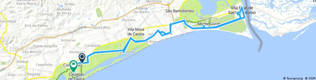 Long bike tour from Tavira to Cabanas de Tavira