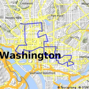 Cycling routes and bike maps in and around Washington DC Bikemap