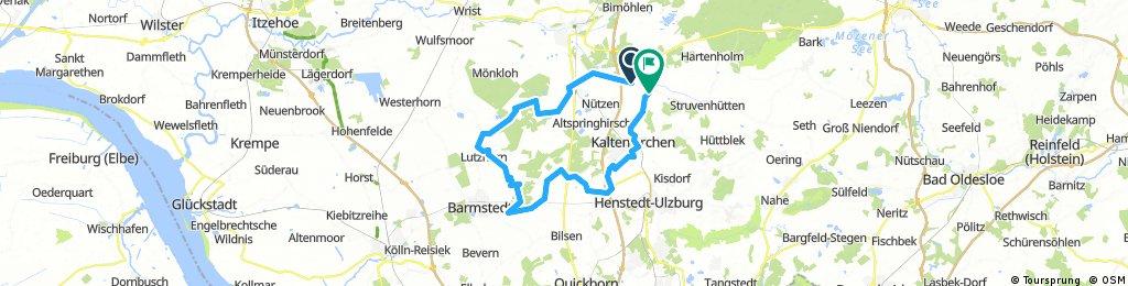 von Schmalfeld über Hitzhusen,Kaltenkirchen wieder zurück.