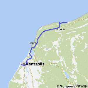 Cycling routes and bike maps in and around Ventspils Bikemap