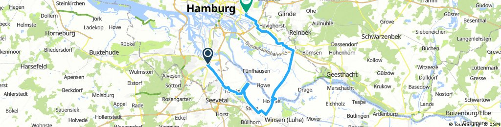 Von Harburg nach Hoopte mit der Fähre nach Zollenspieker dann nach Bergedorf und über Boberg nach Billstedt