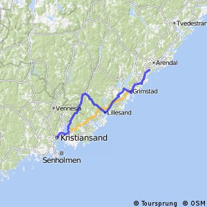Cycling routes and bike maps in and around Kristiansand Bikemap