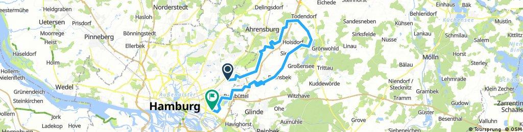 Ellerneck, Stapelfeld nach Großhansdorf zum Lütjensee dann über Stellau nach Billstedt