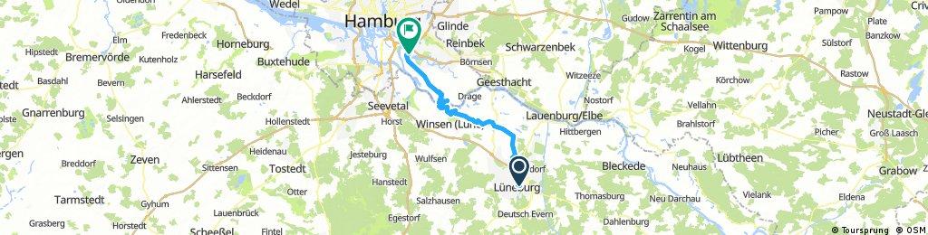 Von Lüneburg an der ILLmenau nach Hoopte dann mit der Fähre nach Zollenspieker und den Marschendamm bis zur Tatenberger Schleuse