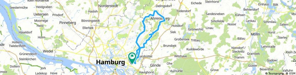 Billstedt Rahlstedt Höltigbaum Ahrensburg Bredenbeker Teich nach Farmsen und zurück nach Billstedt