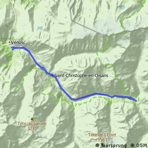 Cycling routes and bike maps in and around Les Deux Alpes Bikemap