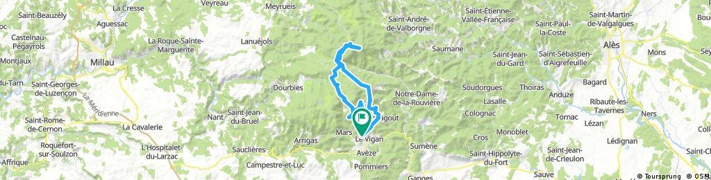 Mont Aigoual from Le Vigan, 60 k, `1600am
