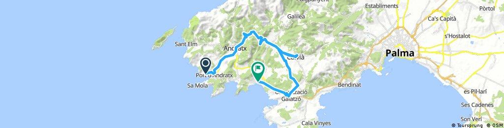 Lengthy ride through Andratx, Capdella, Calvia, Santa Ponsa to Peguera