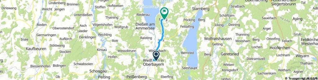 Ausfahrt von Weilheim in Oberbayern nach Andechs
