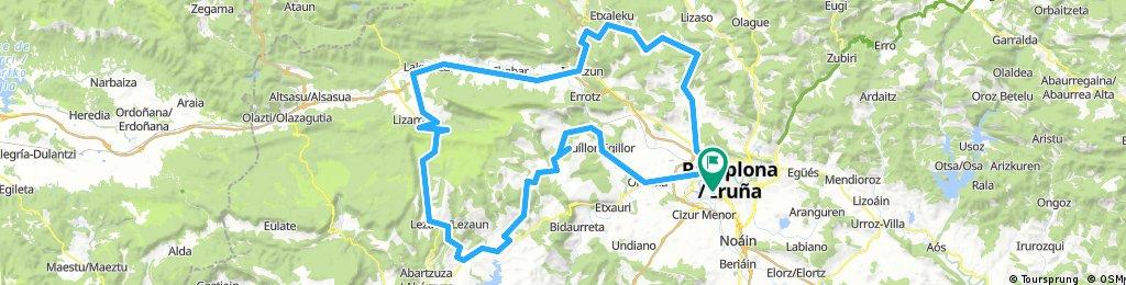 Iruña -Ultzurrun - Genbe - Lizarraga - Irurtzun - Latasa - Oskotz - Aróstegi - Markalain - Iruñea