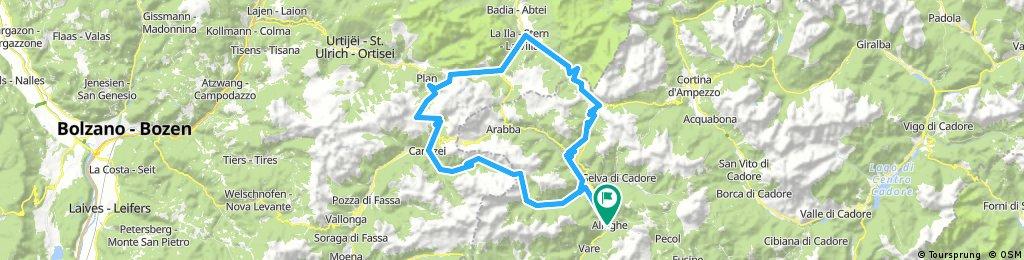 Alleghe-Caprile-Passo Fedaia-Canazei-Passo Sella-Passo Gardena-Colfosco-Corbara in Badia-San Casiano-Passo Valparola-Falzarego-Caprile-Alleghe