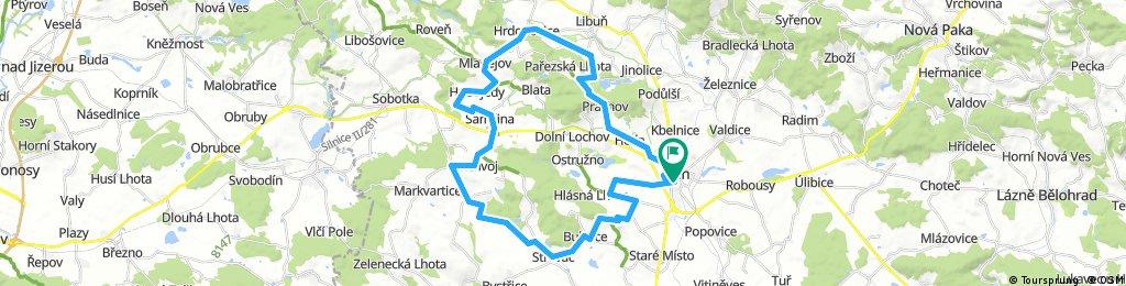 Jičín-Střevač-Samšina-Mladějov-Prachov-Jičín