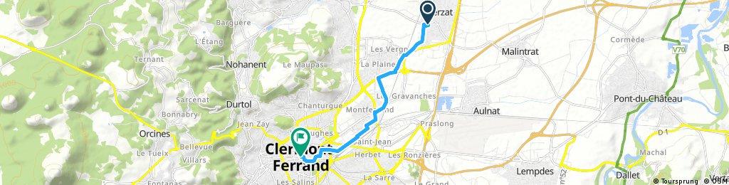 trajet Gerzat/Clermont