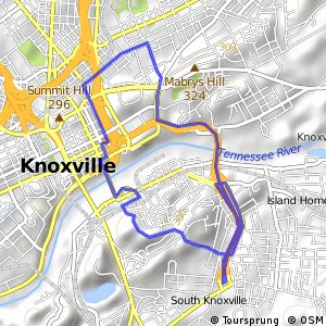 Cycling routes and bike maps in and around Knoxville Bikemap