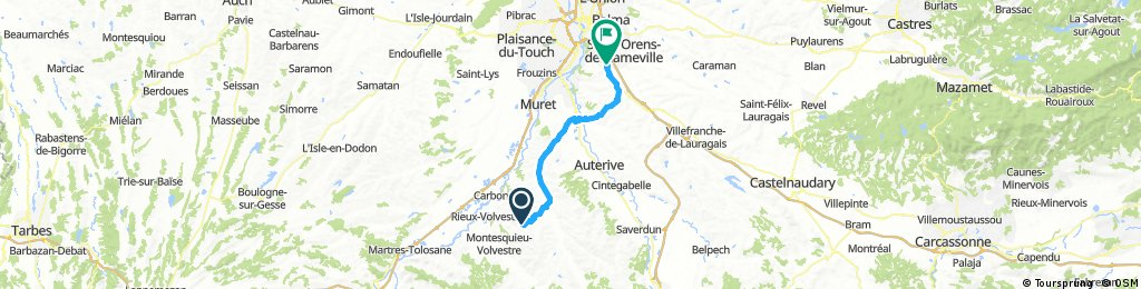Lengthy bike tour through Auzeville-Tolosane