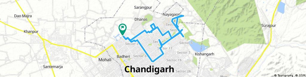 Lengthy bike tour through Chandigarh