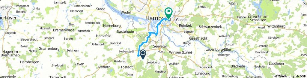 Von Buchholz durch den Stufenwald nach Harburg dann über Wilhelmsburg nach Billstedt