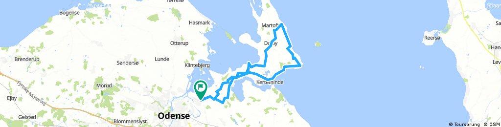 Odense - Munkebo - Dalby - Bøgebjerg Skov - Stavre - Kerteminde - Odense