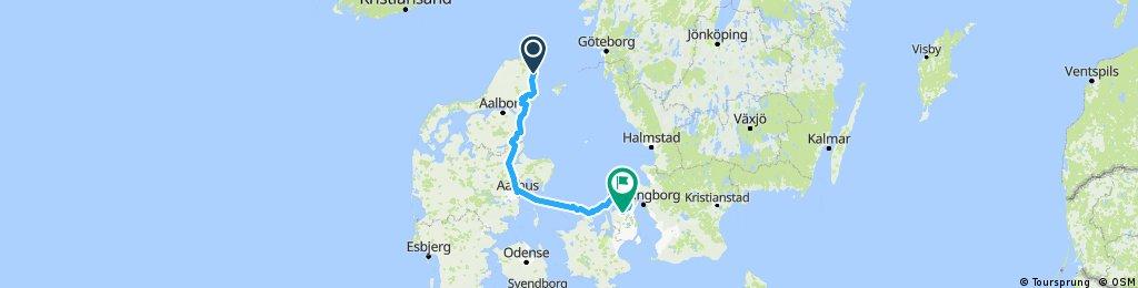 Frederikshavn-Dronninglund-Randers-Århus-Hundested-Gilleleje-Lillerød 2016