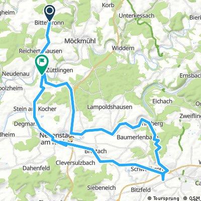 Radstrecke Oerhringen und zurueck