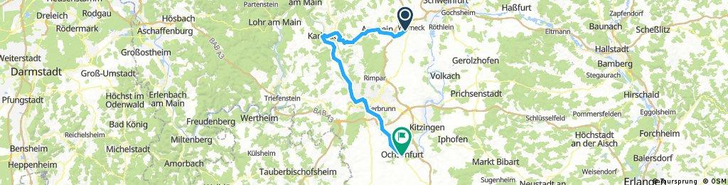 2017-08-19: Werneck - Karlstadt - Würzburg - Ochsenfurt