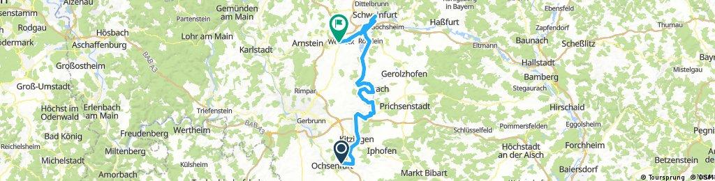 2017-08-20: Ochsenfurt - Kitzingen - Volkach - Schweinfurt - Werneck