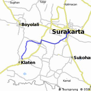 Cycling routes and bike maps in and around Surakarta Bikemap