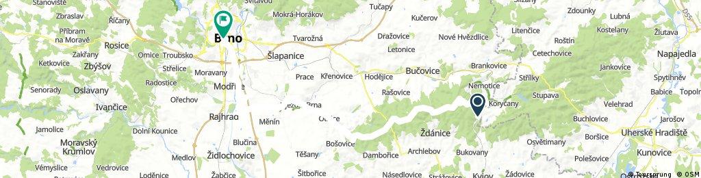 Ždánický les: Jestřabice - Lovčičky - Újezd u Brna - Rajhradice - Brno, střed