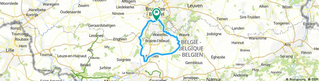 Forest to La Hulpe - trails to Louvain la neuve, dissused rail to Arquennes, river and canal back via Ronquières, Halle & Ruisbroek to St Job