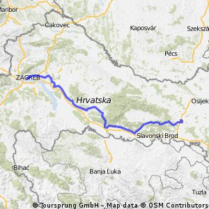 5. Etappe Zagreb-Dakovo  (Pontresina-Istanbul) 12 Etappen