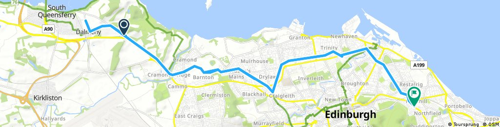 South Queensferry to Willowbrae North route