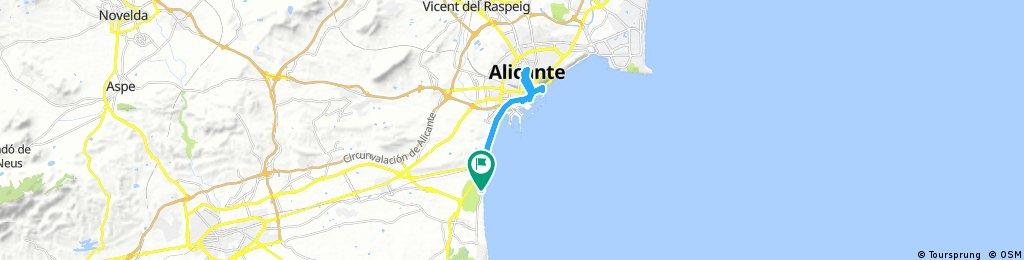 Platja el Saladar nach Alicante Castell de Sant  Ferran und Retour