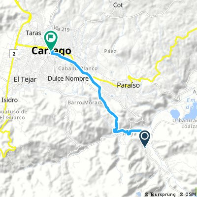 Orosí to Cartago short route