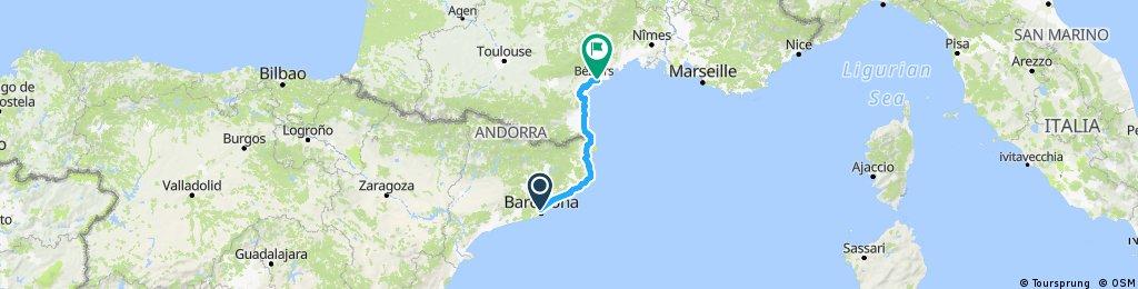 2018/9 barcelona to Villeneuve-les-Beziers
