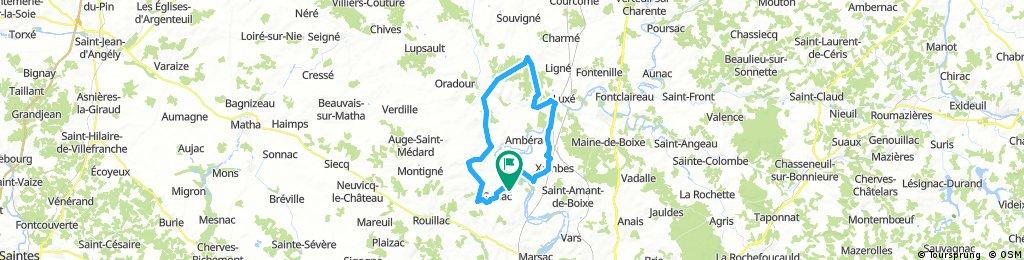 Long bike tour through Genac-Bignac