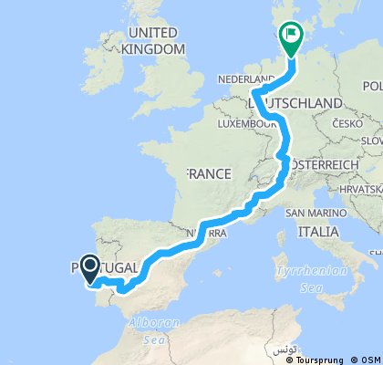 Lissabon - Hamburg mit Alpen ohne Barcelona
