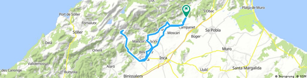 Mallorca: Campanet-Selva-Lloseta-refugi de Tossals Verds-Lloseta-Biniamar-Mancor-Caimari-Campanet