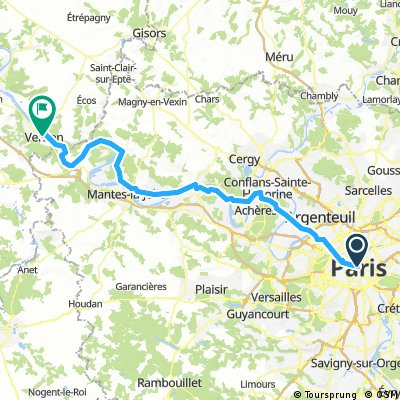 Paris - Vernon 94km 5h45 380mu, 400md
