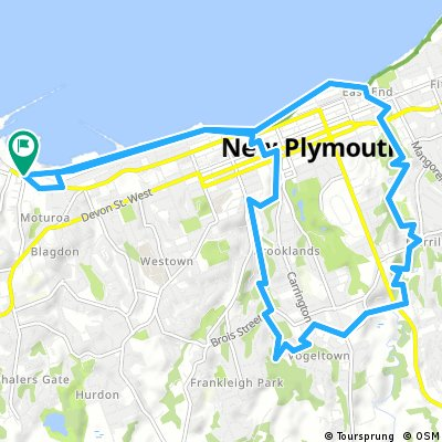 Cycling routes and bike maps in and around New Plymouth   Bikemap ...