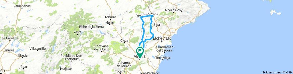 Map Of Yecla Spain.Brevet Randonneur 200k Gdr Murcia 2018 Villena Yecla Bikemap