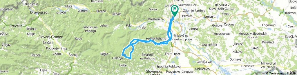 Košaški dol - Hoče - Areh - Šumik - Osankarica (koča) - Črno jezero - Trije Kralji - Lepej - Žigartov vrh - Areh - Polana - Razvanje - Košaki