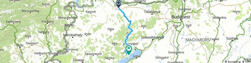 Győr - Pannonhalma - Balatonfüred, 24. sz. kerékpáros útvonal