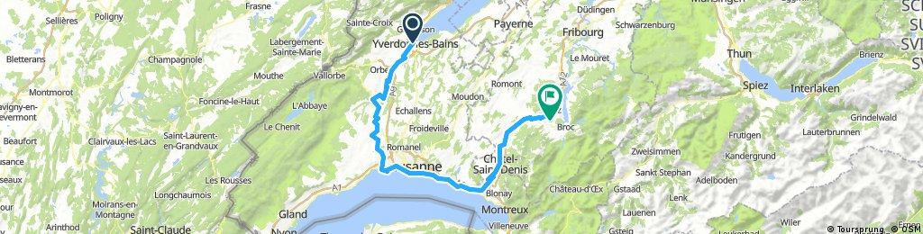 CH 501: Lac de Neuchâtel - Lausanne - Bulle (Velorouten 5, 1, 9)